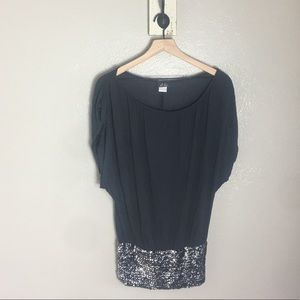 DOTS • Gray Sequin Hem Flashy Soft Blouse